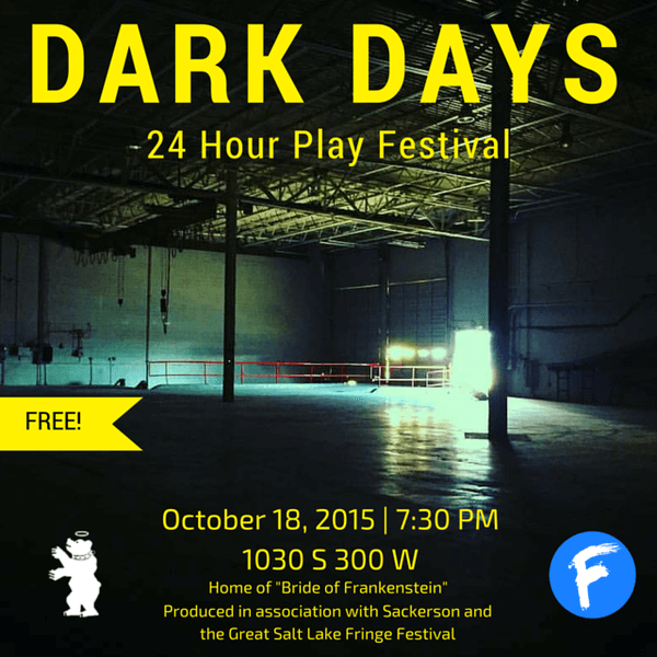 The advertisement for Dark Days 24 hour theatre festival presented by Sackerson